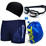 Men's Swimwear Suits Square Leg Swimsuits Surf Boxer Brief Trunks Shorts with Drawstring Blue