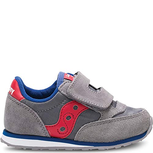 (Saucony Boys' Baby Jazz HL Sneaker, Grey/Red, 5 Medium US Toddler)