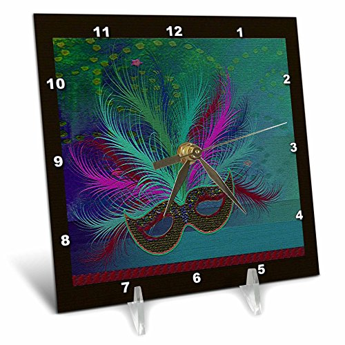 3dRose dc_43298_1 Mardi Gras Mask, Aqua-Desk Clock, 6 by (Pics Of Mardi Gras Masks)