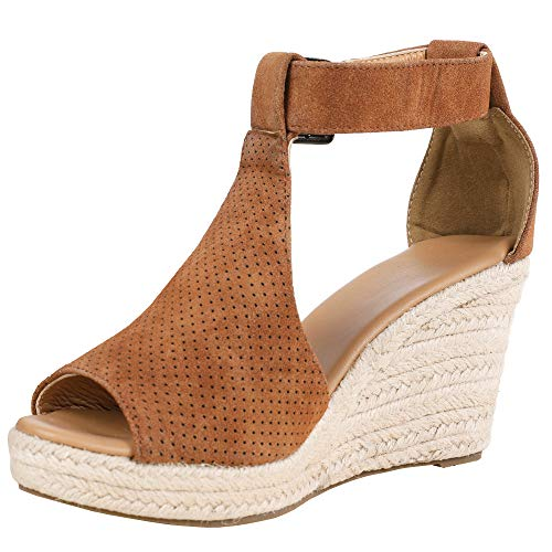- LAICIGO Womens Chic Espadrille Wedges Sandals Adjustable Buckle High Platform Open Toe Ankle Strap Summer Shoes