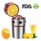 Manual Citrus Juicer AUDIOR, Hand Orange Squeezer, Stainless Steel Hand Juicer for Lemon Lime Grapefruit with Stainless Steel Filter and 15.9OZ Juice Container