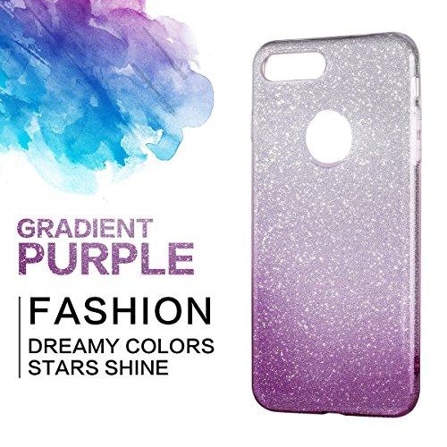 iPhone 7Plus/8Plus Funda, SXUUXB iPhone 7Plus/8Plus Glitter Gradient Rose Red Carcasa [3-Pedazos] Híbrido Caso Colorido Patrón del TPU + Bling Brillante Foil + Cubierta Dura del Interior Plástico Cubi Púrpura
