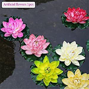 Meiwo 1 PC Real Touch Like Artificial Lotus Water Lily Flowers/Lotus Foam Flowers for Pond Fountain Home Decor Arrangement(Yellow) 9