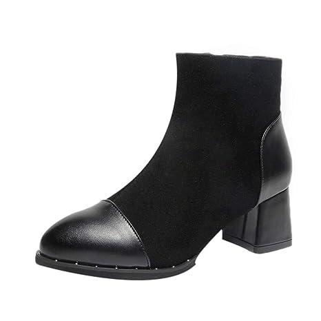 Logobeing Zapatos Mujer Botines Mujer Tacon Medio Planos Invierno Alto Botas de Mujer Casual Plataforma Nieve