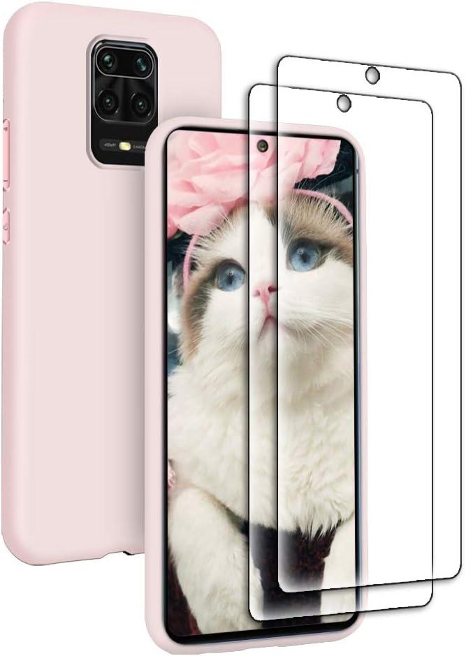 Funda Líquida para Xiaomi Redmi Note 9S + 2* Cristal Templado Protector de Pantalla, Carcasa Líquido Ultra Delgado Suave TPU Silicona Anti-Rasguño y Resistente Protectora Caso - Rosa