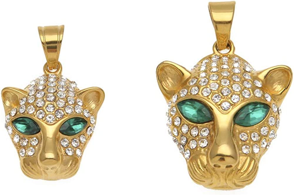 Gift Hip hop Stainless Steel Inlaid Green Eye Leopard Head Pendant Tide Brand Jewelry Couple Necklace Gold