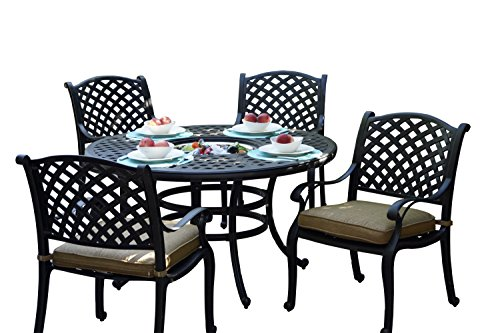 Darlee Nassau Cast Aluminum 5-Piece Dining Set with Seat Cushions and 52-Inch Round Dining Table with Ice Bucket Insert, Antique Bronze Finish