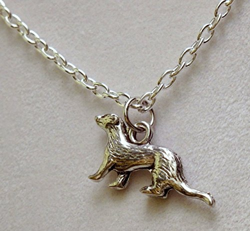 Ferret Necklace - Pewter silver tone ferret necklace (150a)
