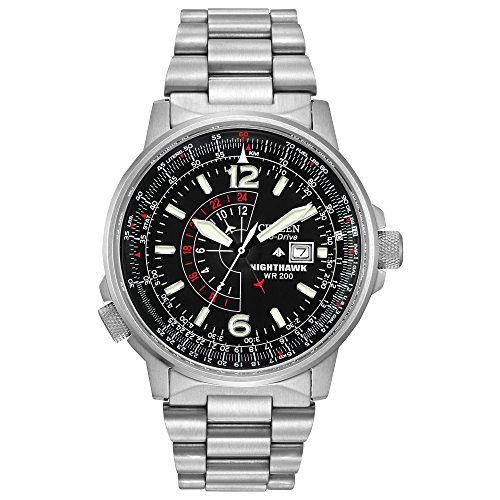 Citizen Men's Eco-Drive Promaster Nighthawk Dual Time Watch with Date, - Wrist Watch Marine Stainless Steel