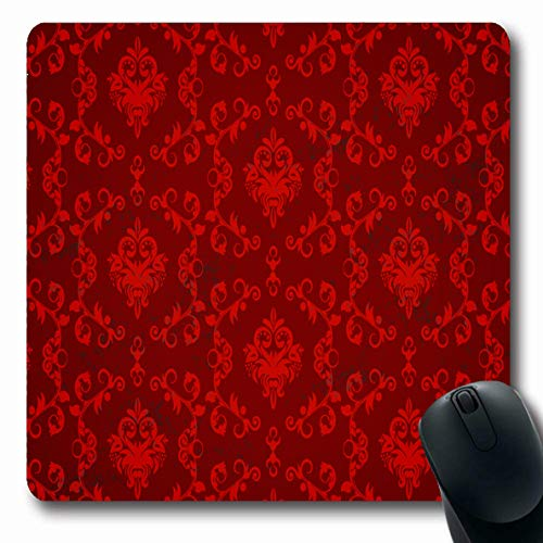 LifeCO Mouse Pad Dark Black Damask Pattern Red Vintage Tile Gothic Abstract Antique Baroque Clip Design Ornamental Oblong Shape 7.9 x 9.5 Inches Mousepad for Notebook Computer Mat Non-Slip Rubber
