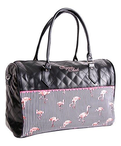 SugarShock Alaya Damen Shopper Tasche Rockabilly Flamingo Umhängetasche Schwarz