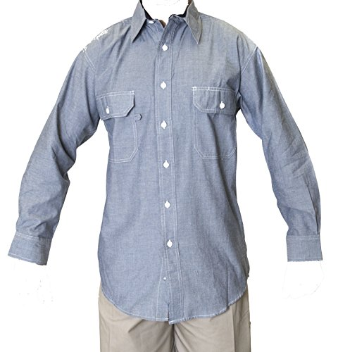 Ws Blue Collar Outlet Mens Chambray Long Sleeve Shirt, Two Front Pocket Mitered Flaps