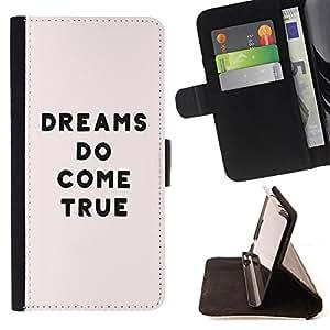 - Dreams Do Come True - - Monedero PU titular de la tarjeta de cr?dito de cuero cubierta de la caja de la bolsa FOR LG OPTIMUS L90 Retro Candy