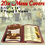 Menu Cover: PVC Vinyl 8 View Red (Cafe) 8-1/2''x14'' 20 Pcs