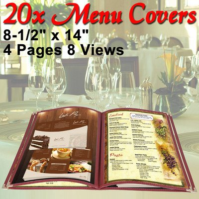 Menu Cover: PVC Vinyl 8 View Red (Cafe) 8-1/2''x14'' 20 Pcs by KOVAL INC.