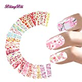 BlingBling Flower Designs Nail Stickers Foral Nail Art Stickers Waterslide Manicure Wrap Fresh Decals 24Kinds Of Styles