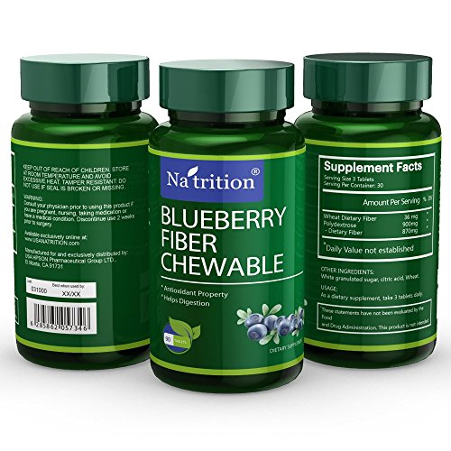 Natrition Blueberry Fiber Chewable Tablets, 90 Tablets/Bottle