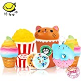 Slow Rising Jumbo SQUISHIES SET PACK of 7 - Rainbow Triangle Cake, Donuts & Ice Cream, Kawaii Squishy Toys or Stress Relief Toys PLUS BONUS Stickers Come With the Squishys for Gift