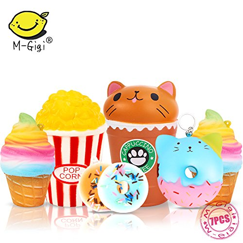 Slow Rising Jumbo SQUISHIES SET PACK of 7 - Rainbow Triangle Cake, Donuts & Ice Cream, Kawaii Squishy Toys or Stress Relief Toys PLUS BONUS Stickers Come With the Squishys for Gift by M-Gigi