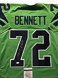 Autographed/Signed Michael Bennett Seattle Seahawks Green Football Jersey JSA COA
