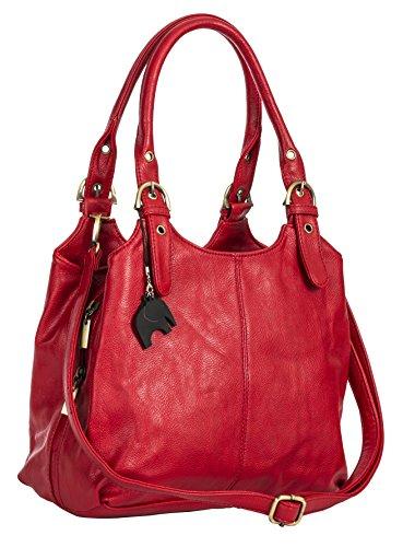BHBS Bolso Mediano para Dama con Correa Larga para Hombro 33x26x13 cm (LxAxP) Red (Plain S105)