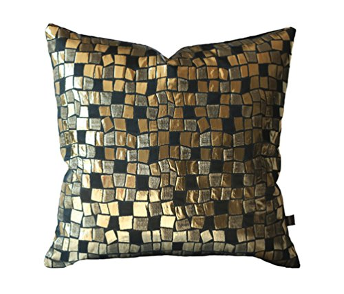 (Kdays Mosaic Gold Pillow Cover Decorative For Couch Designer Pillow Cover Throw Pillow Case 20x20 Inches)