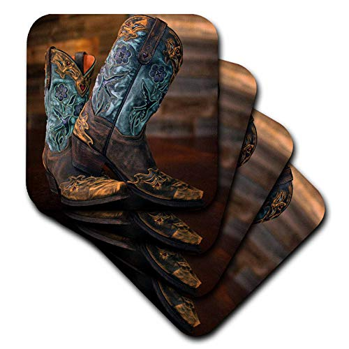 3dRose Stamp City - fashion - Photograph of a pair of cowgirl boots against a rustic wood wall. - set of 8 Coasters - Soft (cst_292960_2)