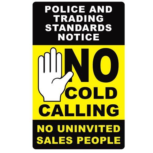 No cold calling door sticker black yellow fully weatherproof sign amazon co uk diy tools