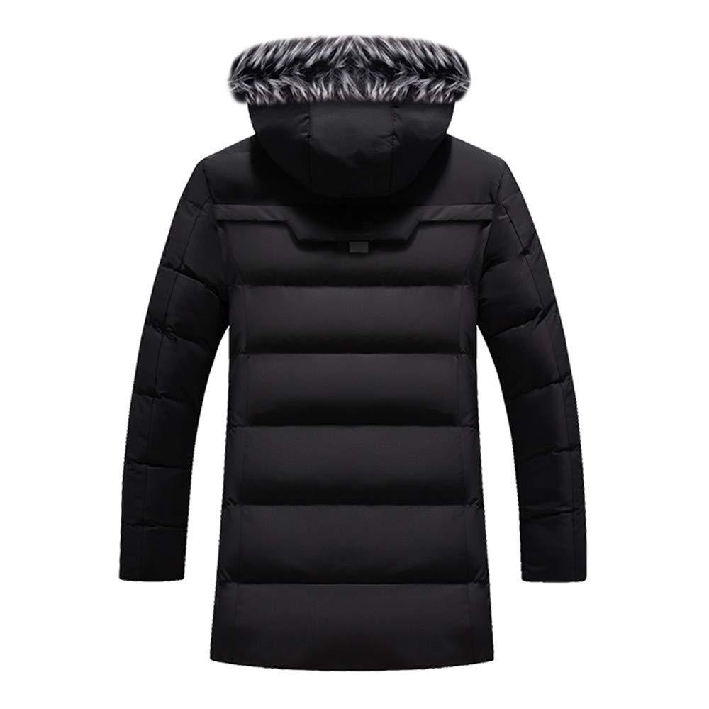 TIFIY Hommes Veste à Capuche,Automne Hiver Casual Chapeau Détachable Zippé Couleur Unie à Manches Longues Chaud Hoodies Doudoune Manteaux Noir