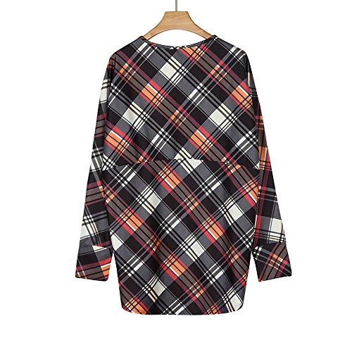 Automne Multicolore Lattice Femmes Cardigan Manteau Imprimer Morchan Irrégulière Vestes Outwear Longues Dames qPtnW7g