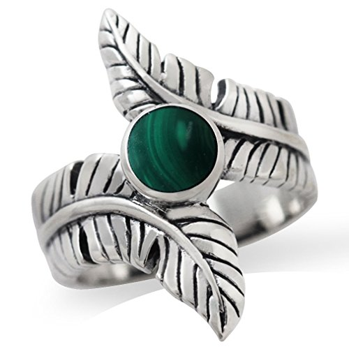 Created Malachite 925 Sterling Silver Bypass BANANA LEAF Ring Size 6 (Banana Sterling Silver)