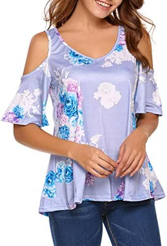 Sherosa Women's Floral Print Cut Out Shoulder Short Sleeve T Shirt Tops Blouse