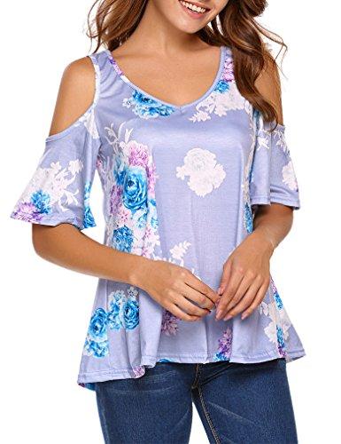Sherosa Women's Floral Print Cut Out Shoulder Short Sleeve T Shirt Tops Blouse (XL, Light Purple)