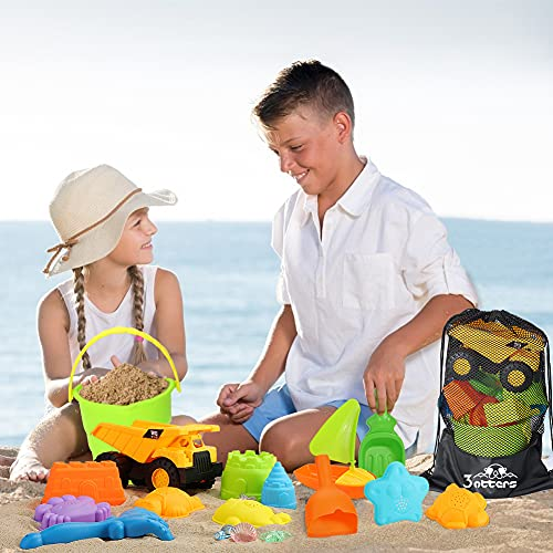 3 otters Beach Toy Set, 28 PCS Sand Toys for Toddlers Beach Truck Kids Beach Toys Bucket with Sifter, Shovel, Rake, Castle Sand Molds