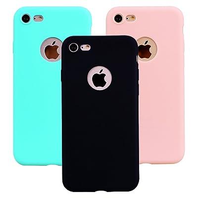 """Funda iPhone 8, 3Unidades Carcasa iPhone 8(4.7"""") Silicona Gel, OUJD Mate Case Ultra Delgado TPU Goma Flexible Cover para iPhone 8 - Negro, Rosa claro, Verde menta"""