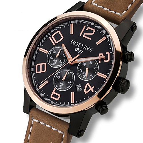 Holuns Men Luminous Chronograph Leather Quartz Wrist Watch