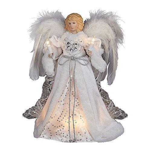 Kurt Adler 10-Light White and Silver Angel Treetop, 12-Inch