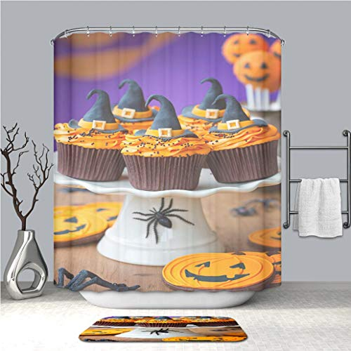 BEICICI Creative Shower Curtain and Bath mat Rug A Plate of Halloween Cupcakes with Orange Frosting Custom Stylish,Waterproof,Mildew Proof Bathroom Set -