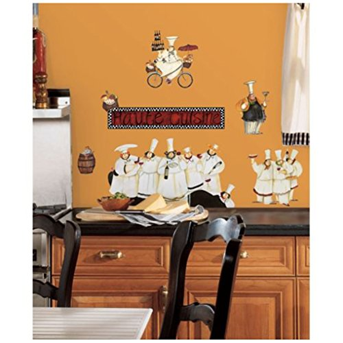 """NEW Chef Carrying Food 18""""x12"""" Black Kitchen Wall Door //Tile Art Decal Sticker"""