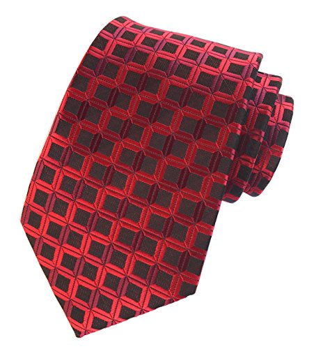 Elfeves Men's Stripe Red Jacquard Woven Silk Tie Formal Wedding Pencil Neckties (Racy Stripes)