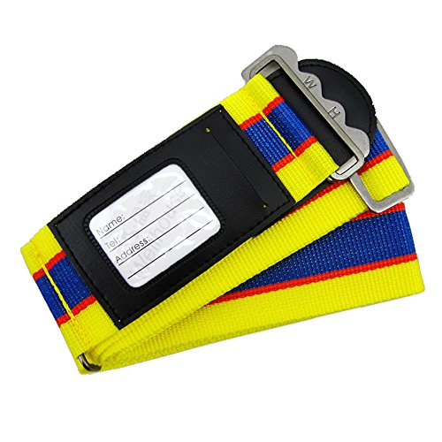 Wellhouse Luggage Strap Suitcase Belt WH-0050 (Yellow and - Belt Buckle Metal Cross