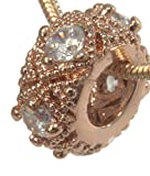 Charm, European Style Rose Gold Plated Rhinestone Charm+ FREE GIFT BAG