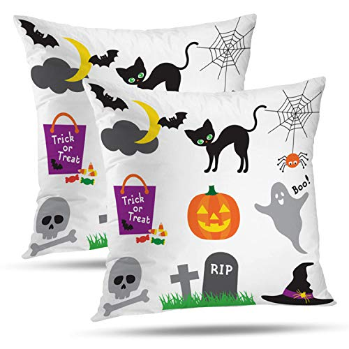 Batmerry Halloween Thanksgiving Decorative Pillow Covers 18x18 inch Set of 2, Halloween Candy Cute Ghost Bat Lantern Jack Witch Bag Throw Pillows Covers Sofa Cushion Cover Pillowcase Home -