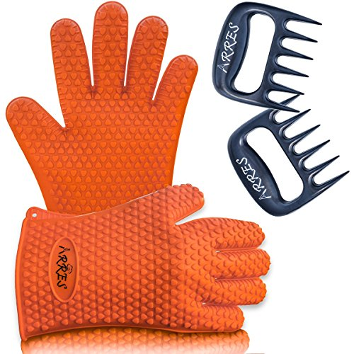 Barbecue Gloves & Pulled Pork Claws Set? Silicone Heat Resistant Grilling Accessories & Home Kitchen Tools For