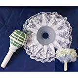 Bhbuy Bouquet Handle Holder + White Lace Collar for Bridal Floral Wedding Flower