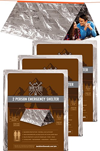 World's 2nd Toughest Ultralight Survival Tent  2 Person Mylar Emergency Shelter Tube Tent + Paracord (425 lb Strength)  Year-Round All Weather Protection For Hiking, Camping, Outdoor Survival Kits