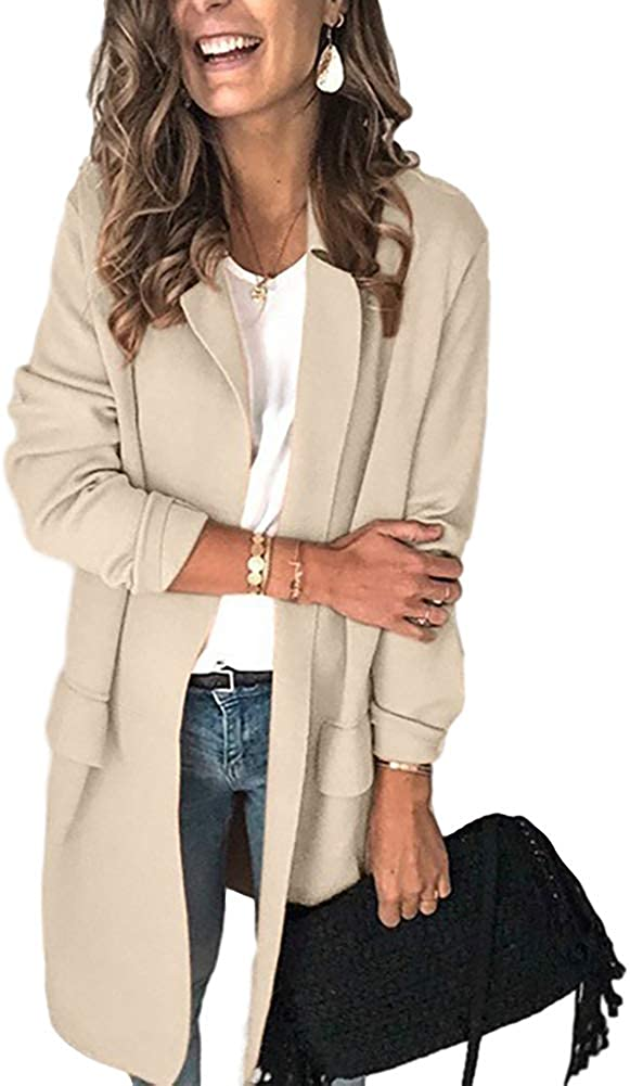 2020 New Womens Casual Solid Color Sleeve Blazer Jacket Lightweight Jacket Work Office Open Front Coat