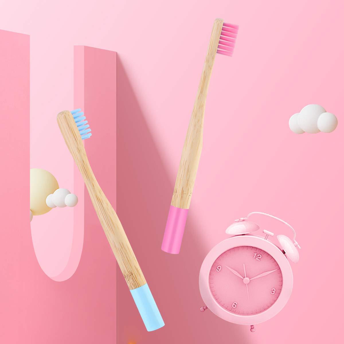 HelloCreate con manico in bamb/ù naturale per bambini biodegradabili Set di 4 spazzolini da denti in bamb/ù ecologici
