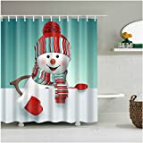 Snowman Shower Curtain Fangkun Christmas Smiling Snowman Shower Curtain - Waterproof, Soap, and Mildew resistant - Machine Washable - Shower Hooks are Included (72 x 72 inches, YL038#)