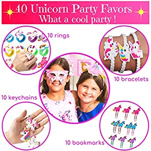 Unicorn Party Supplies – 197 pc Set With Unicorn Themed Party Favors! Pink Unicorn Headband for Girls, Birthday Party Decorations, Unicorn Balloons, Pin the Horn on the Unicorn Game and more| Serve 12!